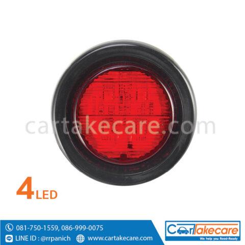 ไฟท้าย led ขอบยาง รถบรรทุก 2 นิ้ว 4 led แดง